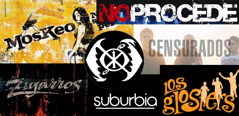 Logotipos de Moskeo, No procede, Censurados, Los Zigarros, Suburbia, Los Glosters y Las Novias